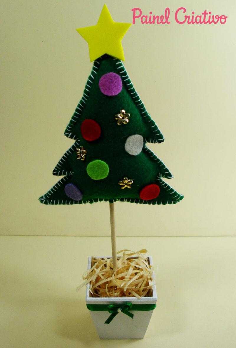 como fazer mini arvore de natal decoracao casa mesa trabalho escola lembrancinha natalina feltro (4)