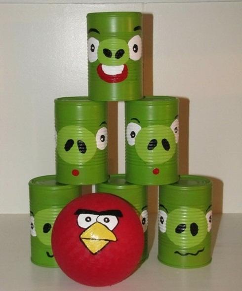 brinquedo reciclado feito em casa boliche latas criancas