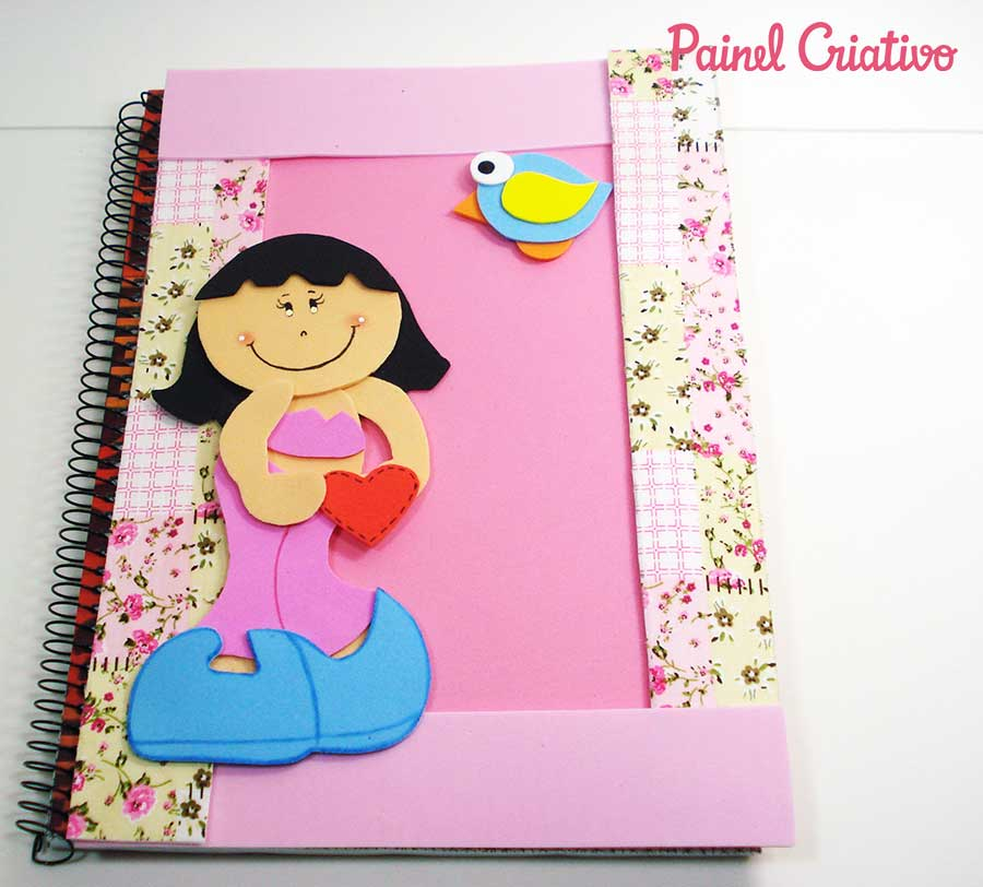 modelo capa de caderno da menininha escolar agenda diario EVA 2