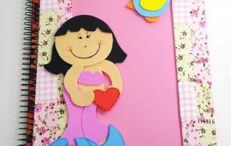 modelo capa de caderno da menininha escolar agenda diario EVA 4