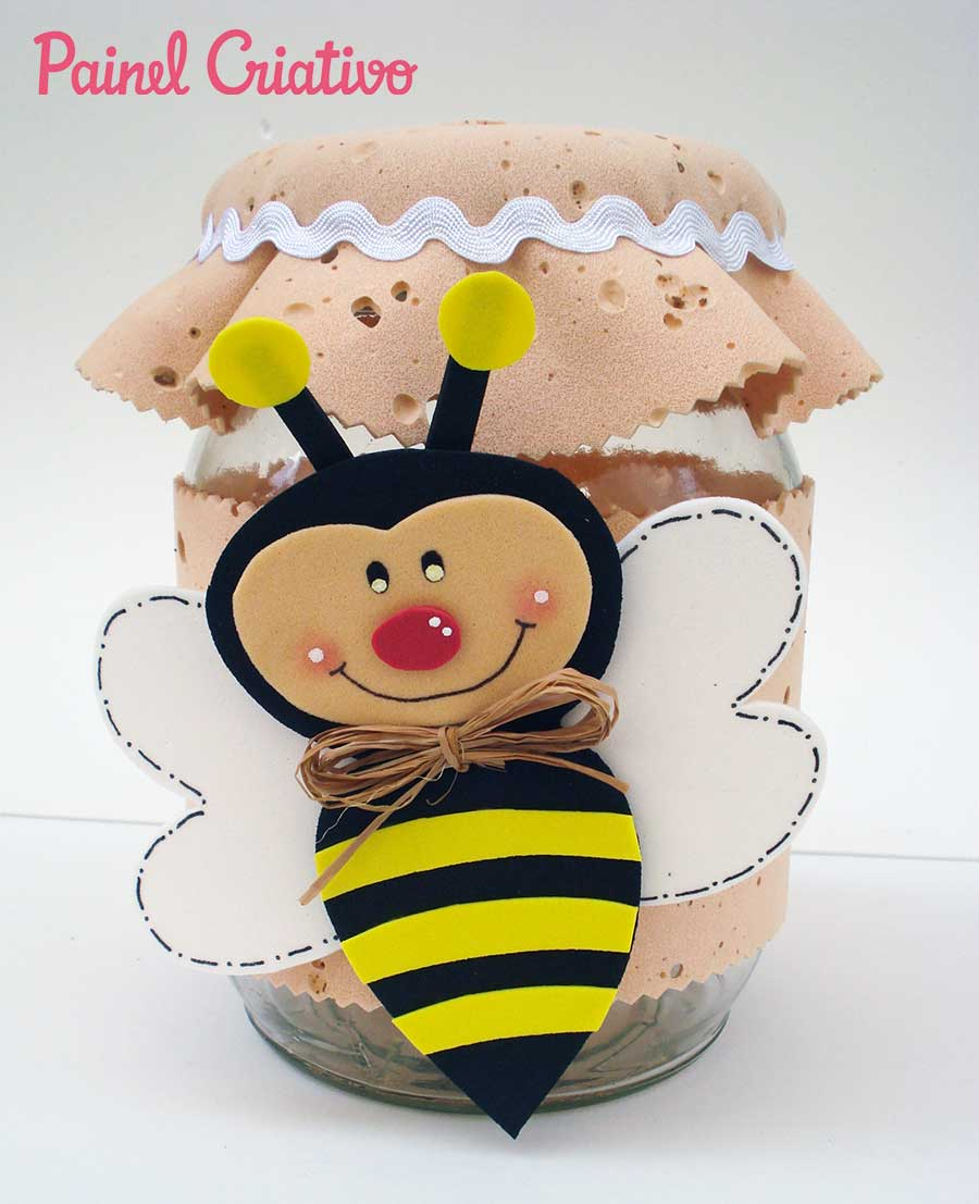 Lembrancinha dia das maes pote vidro abelhinha EVA decoracao cozinha 1