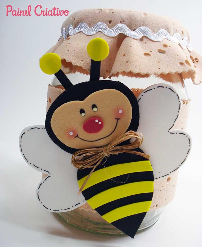 Lembrancinha dia das maes pote vidro abelhinha EVA decoracao cozinha 3