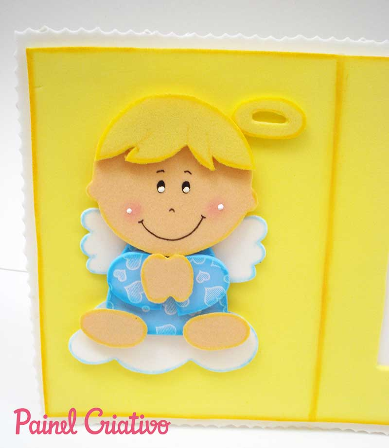 Lembrancinha porta retrato anjinho EVA decoracao quarto criancas 6