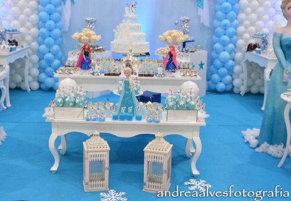 10 ideias criativas festa aniversario frozen princesa elsa olaf meninas deocracao mesa doces bolos (2)