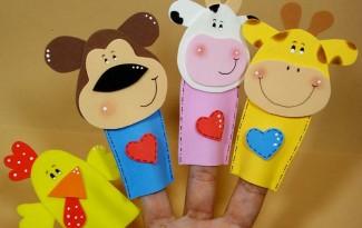 como fazer dedoche animais EVA girafa vaquinha macaco leao galinha contar historias infantil criancas 1