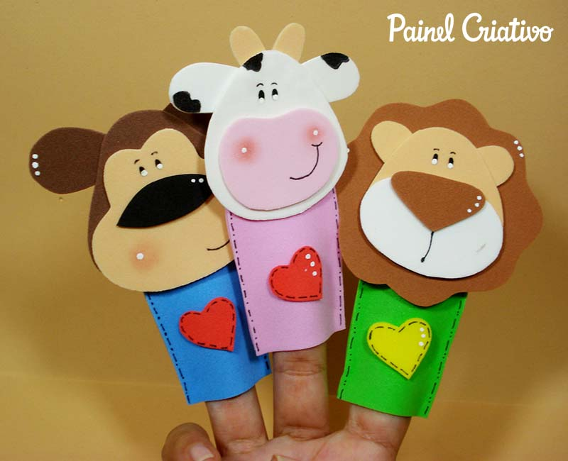 como fazer dedoche animais EVA girafa vaquinha macaco leao galinha contar historias infantil criancas 2