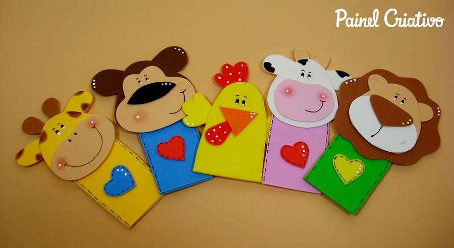 como fazer dedoche animais EVA girafa vaquinha macaco leao galinha contar historias infantil criancas 7