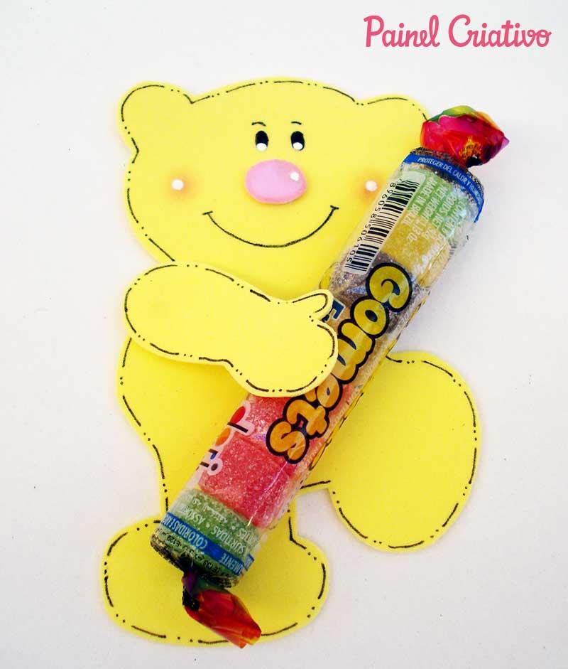 lembrancinha dia das criancas eva ursinho porta pirulito escola artesanato painel criativo 4