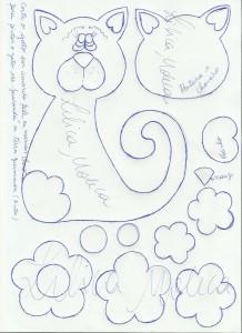 modelo capa caderno gatinha EVA meninas artesanato painel criativo