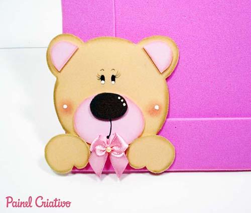 porta retrato ursinha decoracao quarto menina lembrancinha aniversario artesanato painel criativo 1
