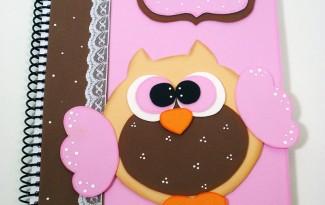 como fazer capa caderno decorado corujinha meninas escola artesanato painel criativo 3
