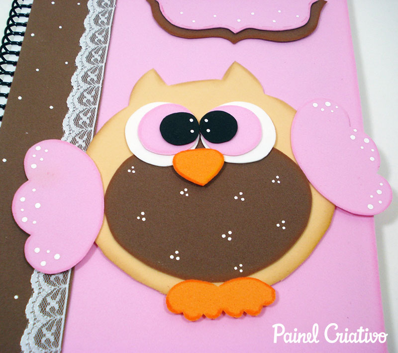 como fazer capa caderno decorado corujinha meninas escola artesanato painel criativo 4