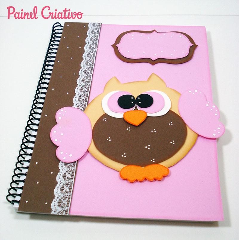 como fazer capa caderno decorado corujinha meninas escola artesanato painel criativo 5