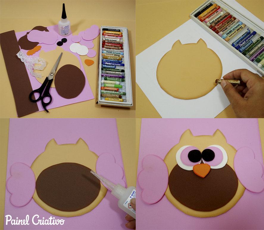 como fazer capa caderno decorado corujinha meninas escola artesanato painel criativo 6