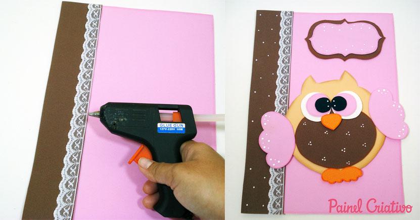 como fazer capa caderno decorado corujinha meninas escola artesanato painel criativo 7