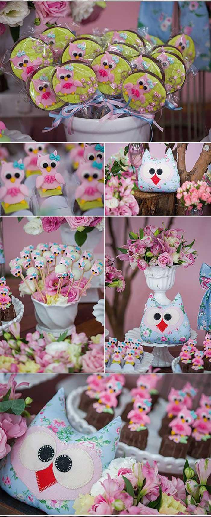 ideias criativas festa aniversario cha de bebe corujinha meninas docinhos lembrancinhas personalizados 1