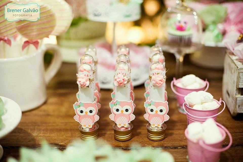 ideias criativas festa aniversario cha de bebe corujinha meninas docinhos lembrancinhas personalizados 14