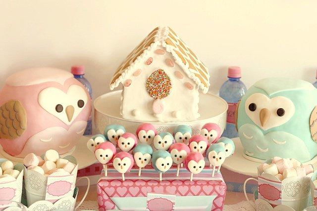 ideias criativas festa aniversario cha de bebe corujinha meninas docinhos lembrancinhas personalizados 6