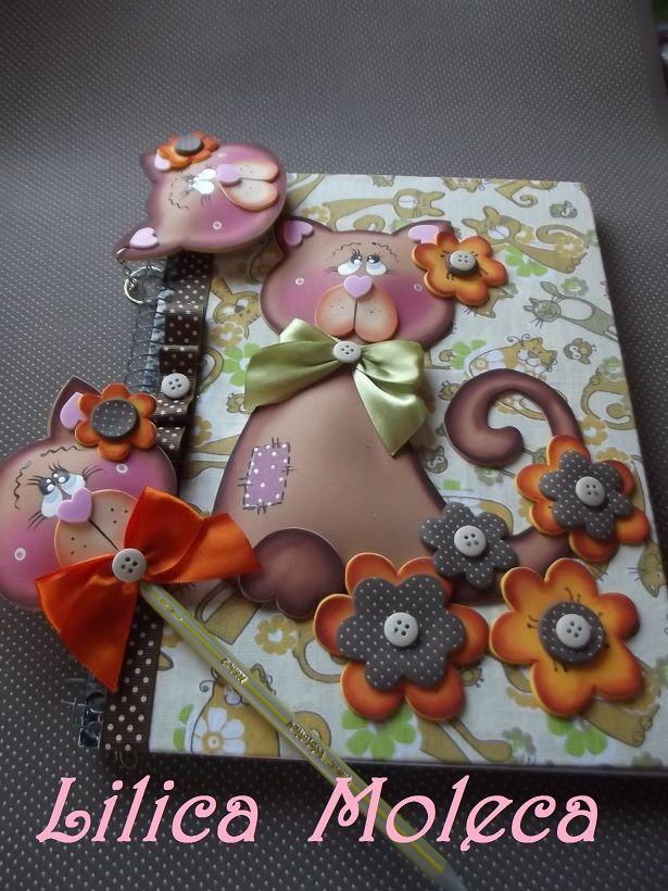 modelo capa caderno gatinha EVA meninas artesanato painel criativo (4)
