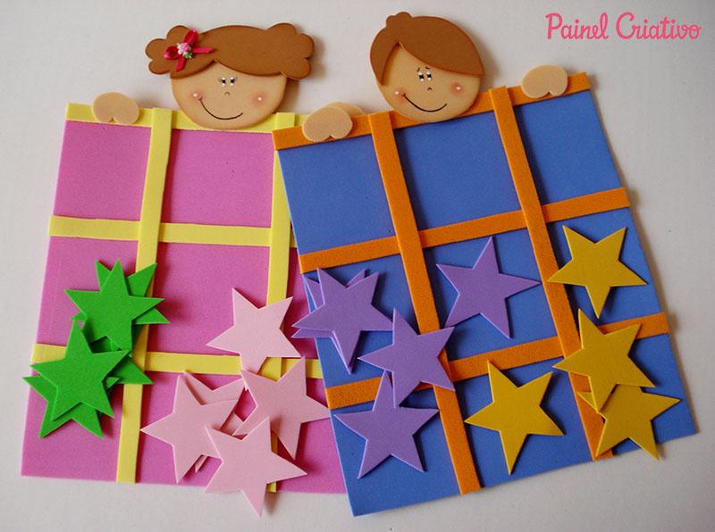 Armario De Quarto Feito De Caixote ~ Dia das Crianças Lembrancinha em EVA Jogo da Velha Painel Criativo