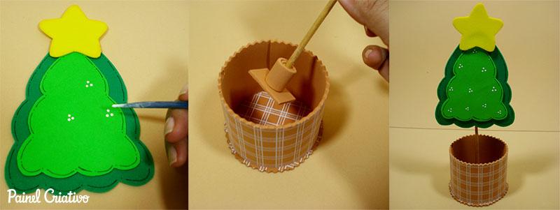 como fazer lembrancinha natal EVA mini arvore natal porta guloseimas criancas artesanato  3