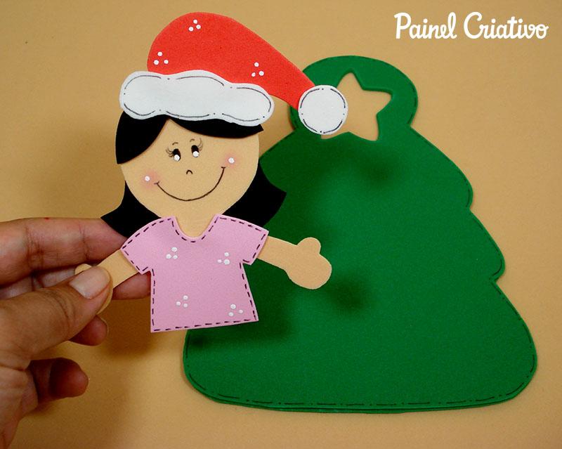como fazer lembrancinha sacolinha arvore natal porta guloseimas menina menino EVA artesanato painel criativo 3