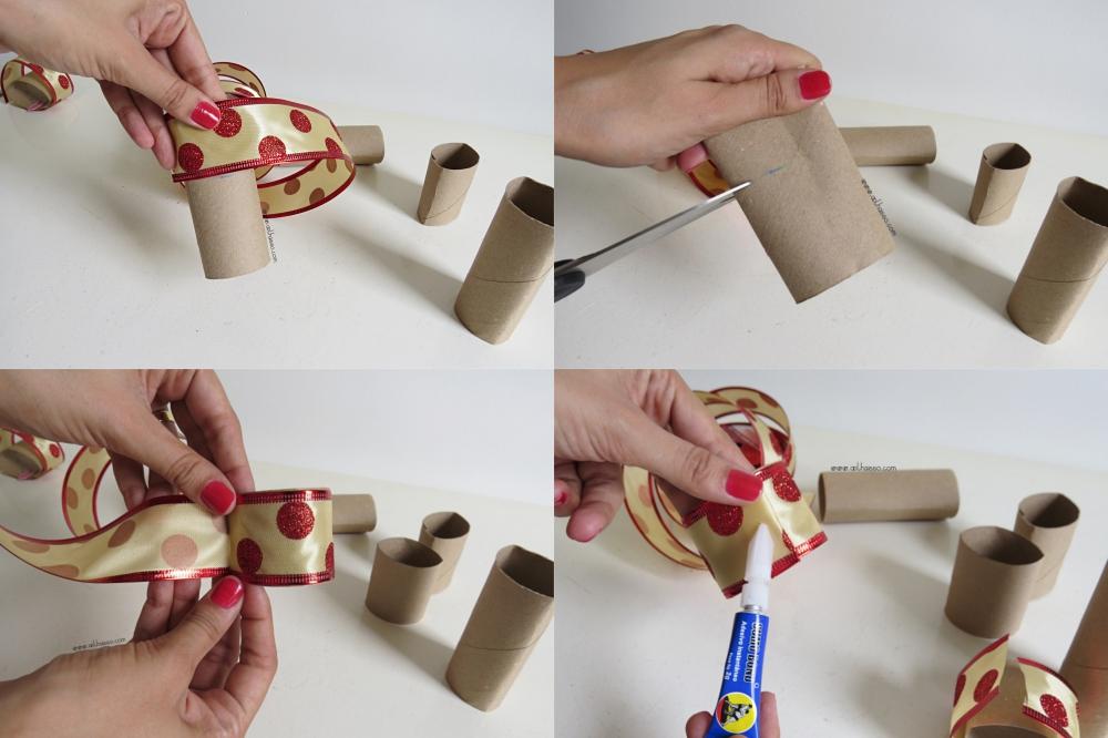 como fazer porta guardanapo natal  rolo papel higienico fita decorativa decoracao mesa natalina reciclagem 3