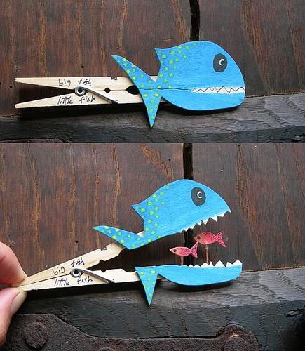 artesanatos pregadores de roupa brinquedos bichinhos criancas peixinho 10