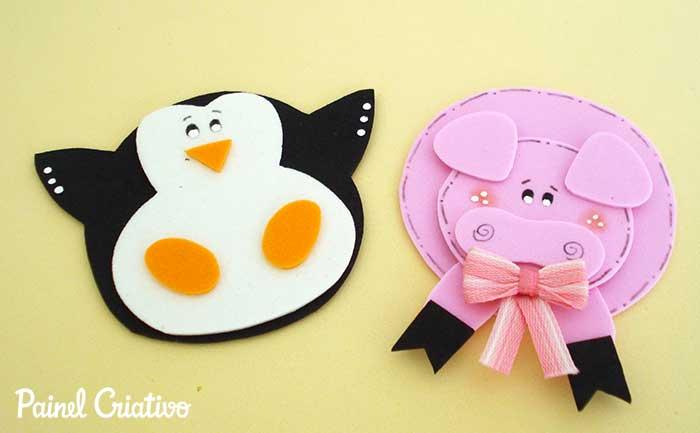 imas bichinhos vaquinha galinha porquinho pinguim eva decoracao casa geladeira 2