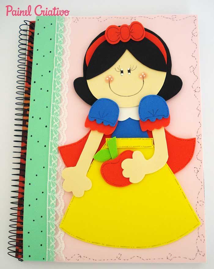 passo a passo capa caderno decorado branca de neve eva meninas escola 2