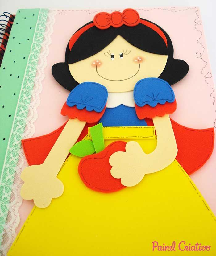 passo a passo capa caderno decorado branca de neve eva meninas escola 3
