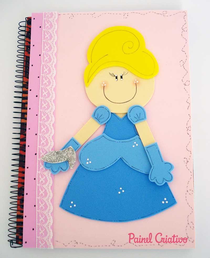 passo a passo capa caderno decorado cinderela meninas escola 3
