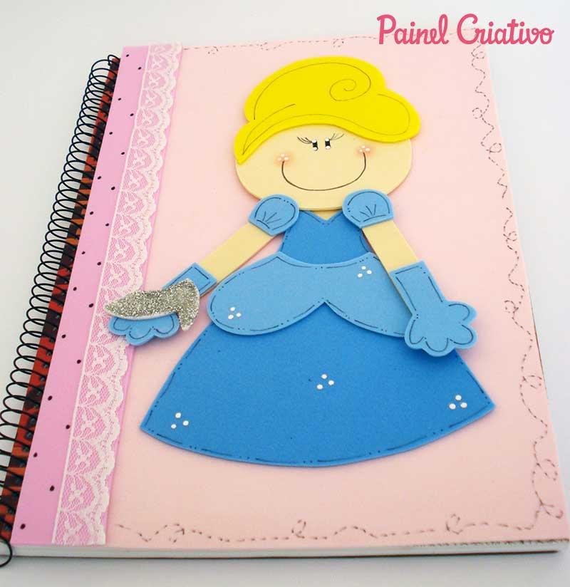 passo a passo capa caderno decorado cinderela meninas escola 4