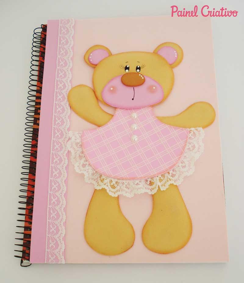 passo a passo capa de caderno ursinha eva meninas escola1