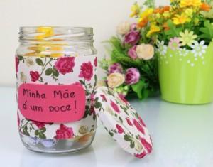 passo a passo video lembrancinha dia das maes pote vidro reciclado doces presente barato 1