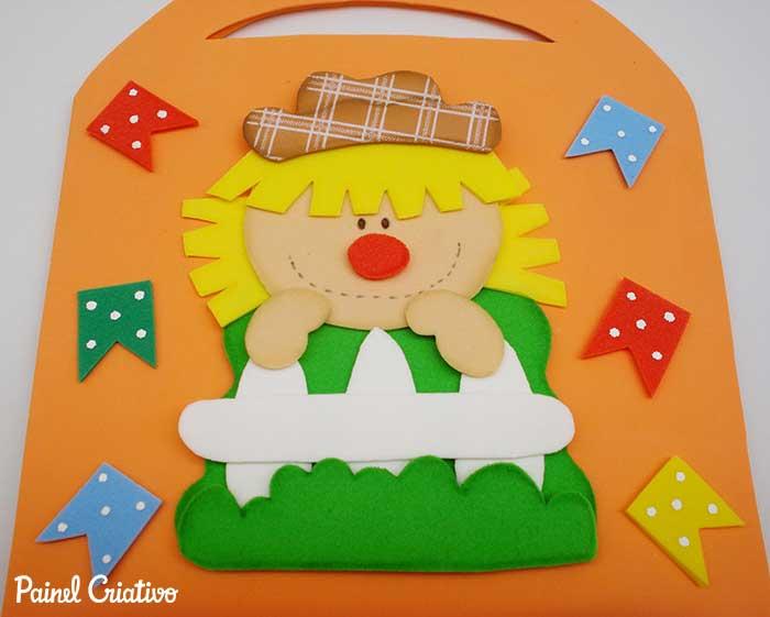 lembrancinha festa junina espantalho eva sacolinha porta guloseimas criancas escola 3