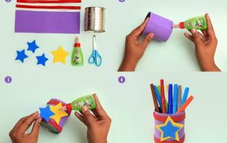 10 ideias lembrancinha dia das criancas escola porta lapis reciclagem latinhas