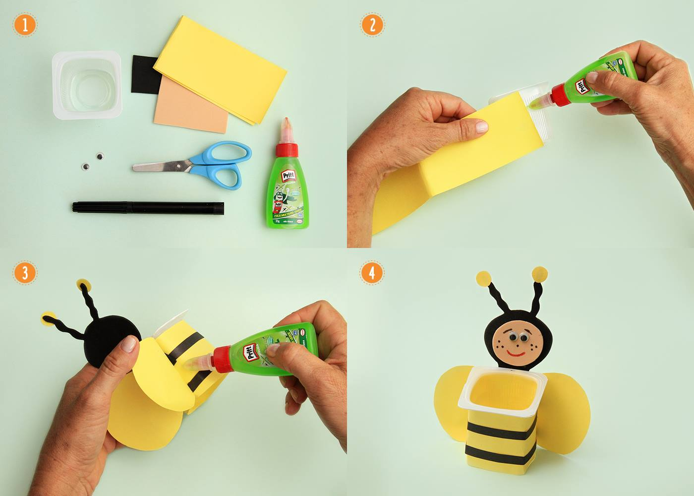 10 ideias lembrancinha dia das criancas escola potinho abelhinha reciclagem pote iogurte