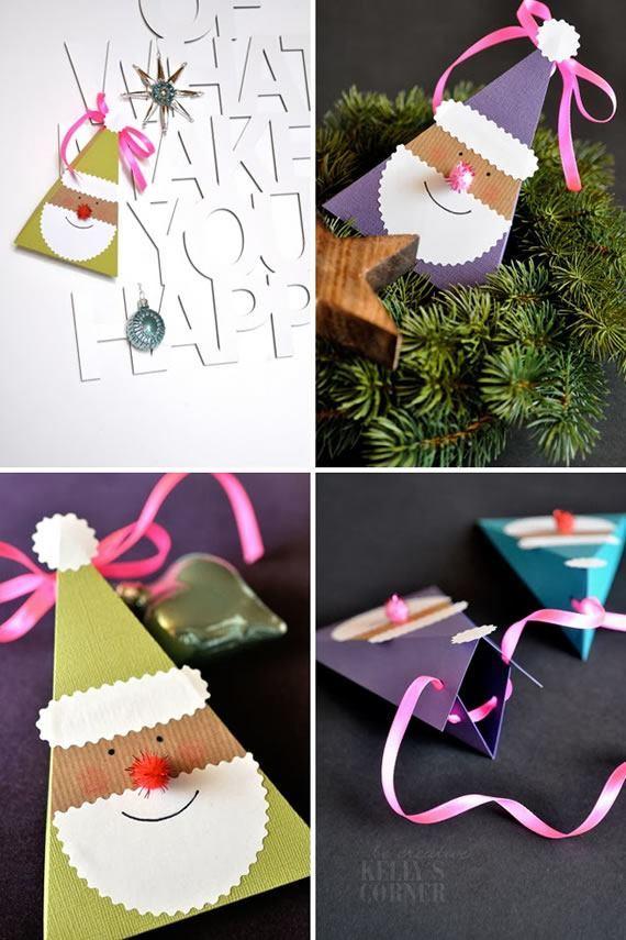 como fazer caixa presente de papel papai noel natal