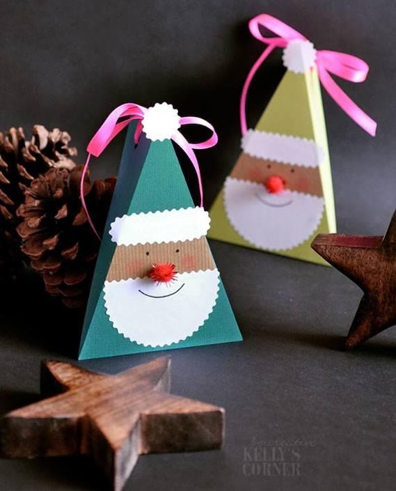 como fazer caixa presente de papel papai noel natal 6