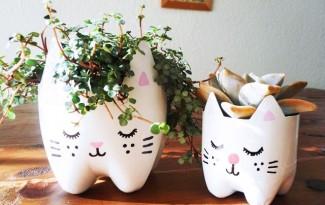 como fazer vasinho plantas garrafa pet gatinho decoracao casa apartamento
