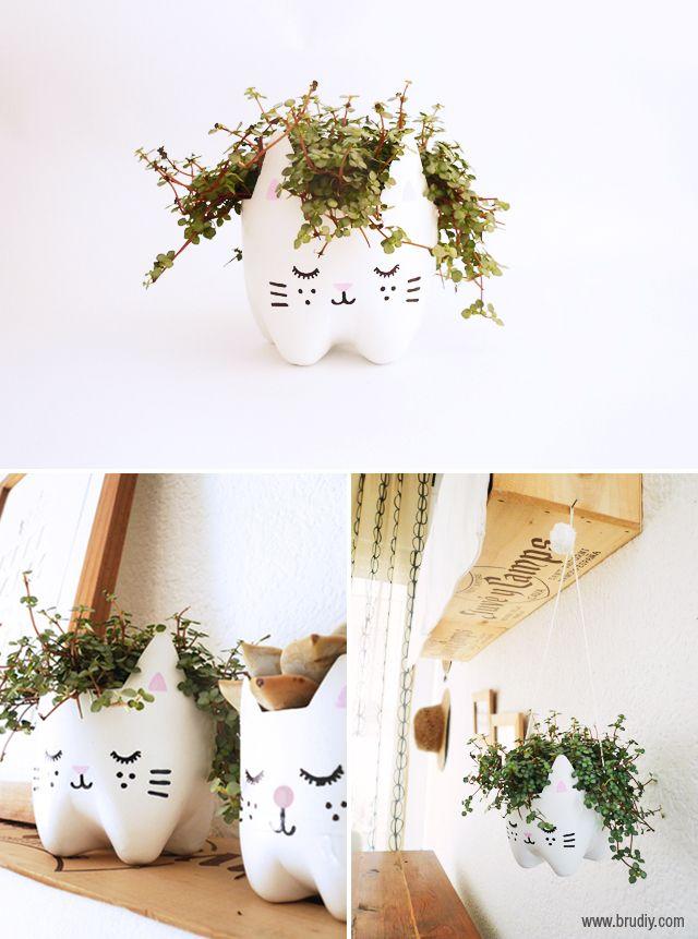 como fazer vasinho plantas garrafa pet gatinho decoracao casa apartamento 3