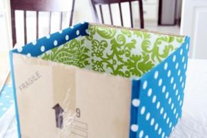 passo a passo organizador caixa papelão forrado tecido casa guardar roupas brinquedos 6
