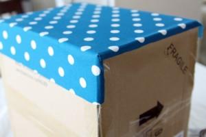 passo a passo organizador caixa papelão forrado tecido casa guardar roupas brinquedos 7