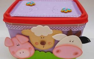 reciclagem pote de sorvete porta trecos bichinhos vaquinha porquinho orvelhinha EVA criancas