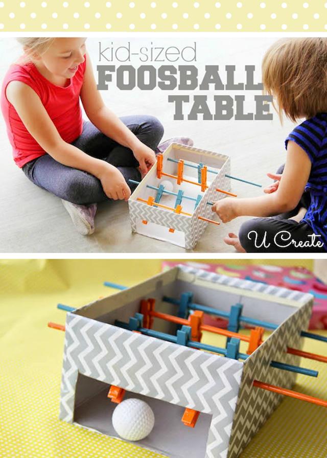 brinquedo reciclado mesa pebolim toto caixa sapato criancas 5