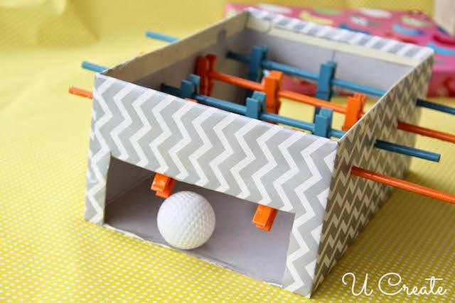 brinquedo reciclado mesa pebolim toto caixa sapato criancas 8