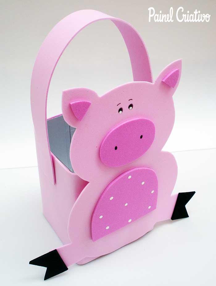 melhores ideias lembrancinha porta guloseimas dia das criancas caixinha leite EVA reciclagem porquinho