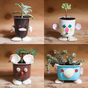 15 ideias criativas reciclagem pote iogurte 14