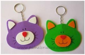 como fazer artesanato com sobras de EVA chaveiro gatinho
